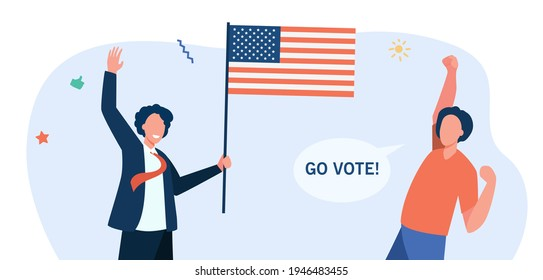 Happy American citizens with flag voting. USA, government, freedom flat vector illustration. Democracy and choice concept for banner, website design or landing web page