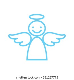 Happy angel on a white background, hilarious characters