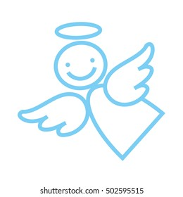 Happy angel on a white background, hilarious characters, vector icon