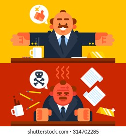 Happy and angry boss. Vector flat illustration.