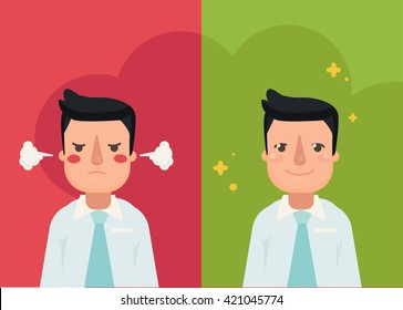 Happy and angry man. flat style modern vector illustration