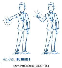 Happy and angry young man in business suit showing thumb up and down. Hand drawn line art cartoon vector illustration.