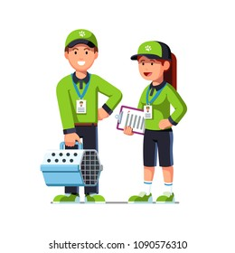 Happy animal activists holding pet carrier, check list and helping animals. Animal shelter volunteers in uniform. Helping animals concept. Flat vector illustration isolated on white background