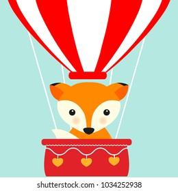 Happy animal in hot air balloon. Cartoon style.