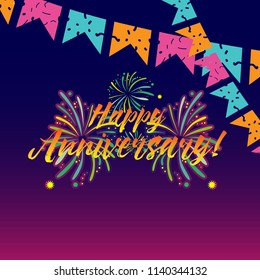 happy anniversary, beautiful greeting card background or banner with  theme. vector