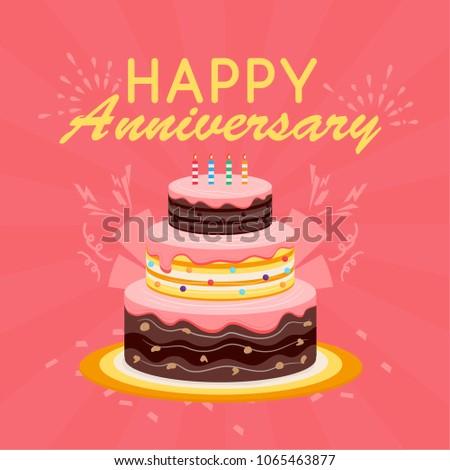 Happy Anniversary Cake Illistration Background Stock Vector Royalty