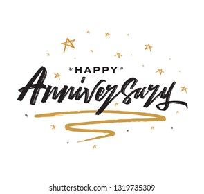 Happy Anniversary Card. Beautiful greeting banner poster calligraphy black text word gold ribbon. Hand drawn design. Handwritten modern brush lettering white background isolated