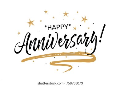 Happy Anniversary card. Beautiful greeting banner poster calligraphy inscription black text word gold ribbon. Hand drawn design. Handwritten modern brush lettering white background isolated vector
