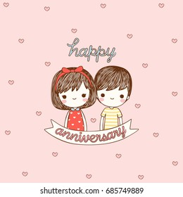 Happy anniversary card. Cute girl boy with text happy anniversary. Flat design. Vector illustration.