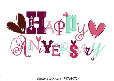 happy anniversary card Eps 10