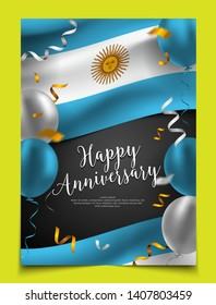 Happy anniversary cover layout with flag of Argentina, balloon and confetti background. party, holiday, national scale celebration, Flyer, card, banner, brochure template