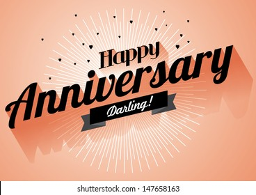 happy anniversary greeting template vector/illustration