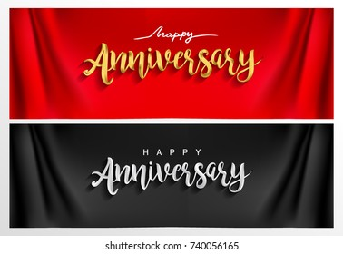 Happy Anniversary hand lettering. Handmade calligraphy vector illustration isolated with curtain background