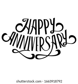 Happy anniversary lettering on white background. Callygraphy card template. Vector