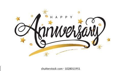 Happy Anniversary lettering text banner, greeting card scratched calligraphy black text word gold stars. Hand drawn invitation. Handwritten modern brush lettering white background.