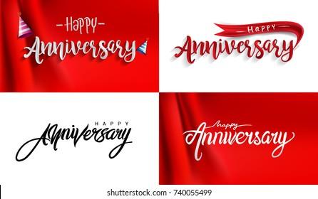 Happy Anniversary lettering text banner. Vector illustration, Vector set