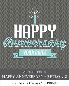 Happy Anniversary retro card template vector | EPS10