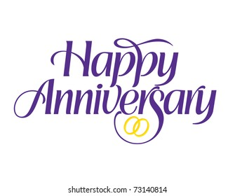 Happy Anniversary with rings Vector Lettering