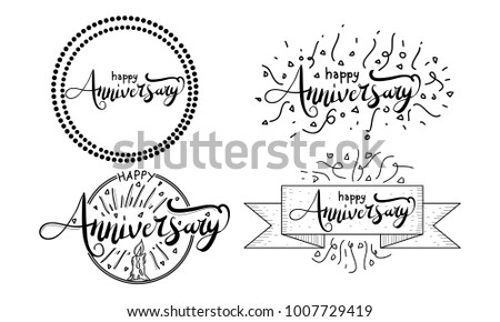 happy anniversary template set stock vector royalty free