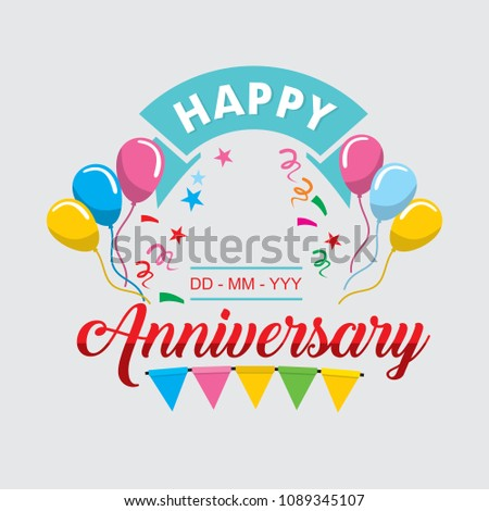 happy anniversary template vector stock vector royalty free