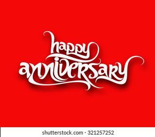 Happy anniversary text design element vector illustration