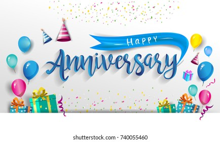 Happy Anniversary Typography Vector Design for Greeting Cards and Poster with Balloon, Confetti and Gift Box, Design Template for Birthday Celebration.