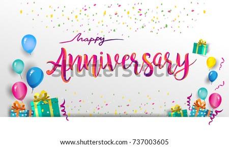 happy anniversary typography vector design greeting のベクター画像