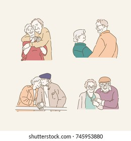 Happy appearance of an elderly couple. hand drawn illustrations. vector doodle design