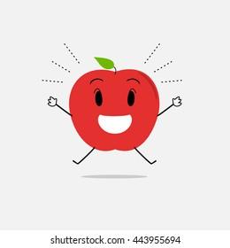 happy apple simple clean cartoon illustration