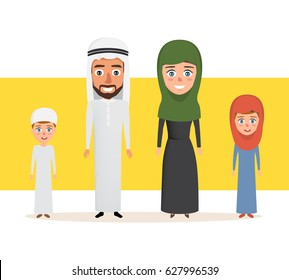 Happy arab family couple with children. illustration vector of people design.