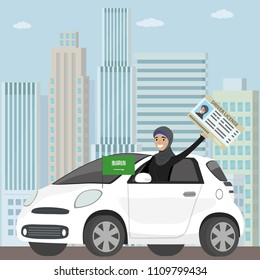 Happy Arab Girl or Saudi woman driving a car,driver license in hand,flat vector illustration
