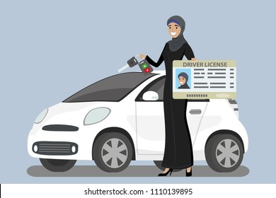 Happy Arab Girl or Saudi woman with driver license and car key in hands,flat vector illustration