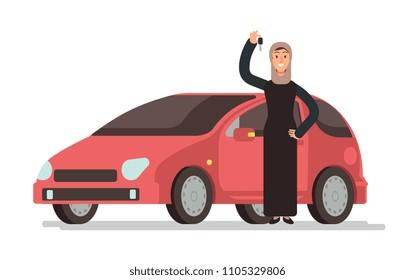 Happy arab muslim saudi woman getting driving license and personal car. Cartoon vector illustration. Arabian girl driver and red car