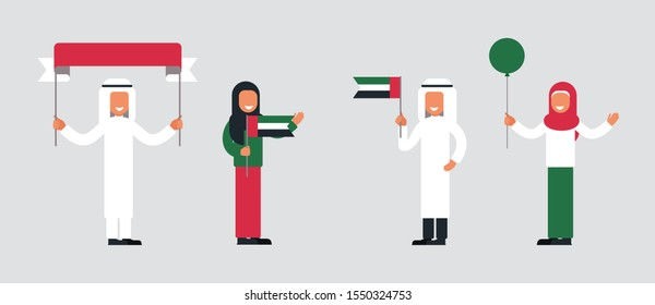 Happy arab people celebrate the National Day of United Arab Emirates. Set of Muslim men and women holding the UAE flags and festive attributes for the holiday.