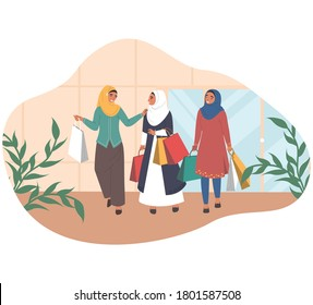 Happy arab women walking with shopping bags talking to each other, flat vector illustration. Three muslim girls in traditional arabic dress and hijab leaving retail women clothing store with purchases