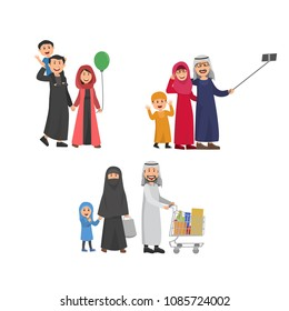 Happy Arabian Family, Father, Mother and Child Walking Together, Take Selfie and Shopping. Flat Vector Illustration