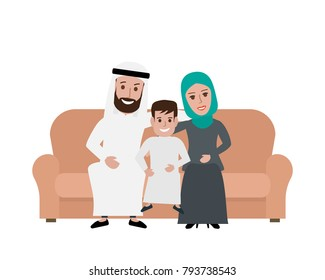 happy arabic family sitting on the sofa