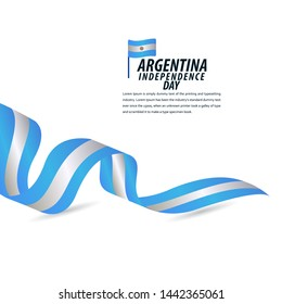 Happy Argentina Independence Day Celebration, Poster, Ribbon banner vector template design illustration