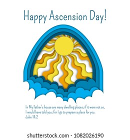 Happy Ascension Day of Jesus greeting or invitation card template with Bible quote, clouds and sun rays. Paper cut out style vector illustration.