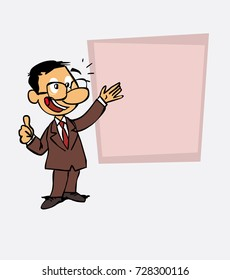 Happy asian businessman makes the gesture of ok. Is showing, as in a presentation, the data you want.