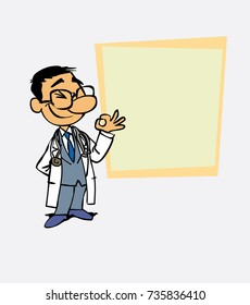 Happy asian doctor makes the gesture of ok. Is showing, as in a presentation, the data you want.