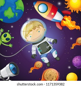 Happy astronaut in the space illustration