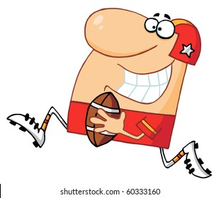Happy Athletic Man Playing American Football