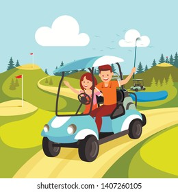 Happy Attractive Smiling Couple of Young Man and Woman Driving Golf Cart Across Green on Beautiful Landscape Background. Guy Holding Golf Club. Family Sport, Leisure. Cartoon Flat Vector Illustration.
