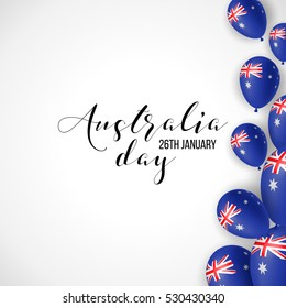 Happy Australia day 26 january festive background with flag, balloon, confetti, ribbon with national colors. Blue, red, white. Template design layout for card, banner, poster, flyer, card. Union jack