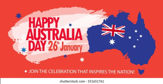 Happy Australia Day 26 January poster with Australia map, Australian flag, stars on red background. Holiday vector Festive greeting card Patriotic Date Australian Anniversary Congratulations Celebrate