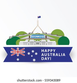 Happy Australia day, 26 january. Greatest landmarks as symbol of country. Canberra- the capital city. Web banner or greeting card