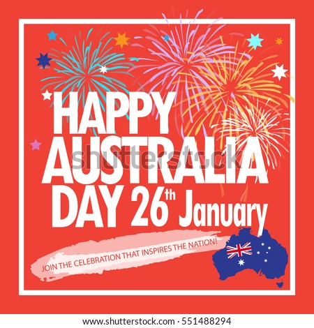 Happy australia day 26th january greeting stock vector royalty free happy australia day 26th january greeting card holiday vector illustration with australia map flag m4hsunfo
