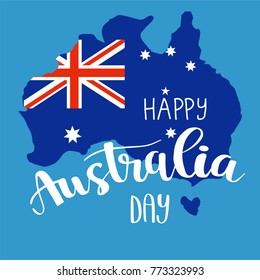 Happy Australia day brush lettering card design, calligraphy poster. Map of Australia with flag on blue background. Vector illustration