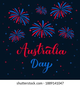 Happy Australia day calligraphy hand lettering. Fireworks in the night sky. Vector template for banner, typography poster, greeting card, flyer, t shirt, postcard, etc.